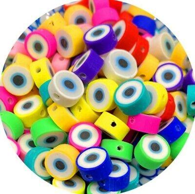 £2.99 • Buy Polymer Clay Round Devil Eye Beads 10 Mm Spacer Mix Color DIY Jewelry 20pcs