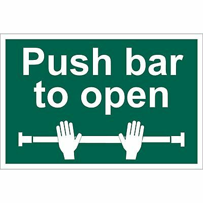 £11.11 • Buy Draper Push Bar To Open Self Adhesive Safety Sign Notice Green And White 72454
