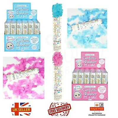£6.99 • Buy Boy Girl Gender Reveal Confetti Shooter Baby Shower Pink Blue Cannon Poppers