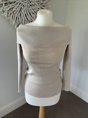£20 • Buy REISS Pale Gold Off The Shoulder Silky Jumper Size Xs, Excellent Condition