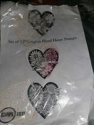 £1.50 • Buy 3 Large Floral Hearts Clear Rubber Stamps