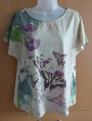£4 • Buy Next Women's Slouch T Shirt Top Beige Floral Print Batwing Sleeves UK 18