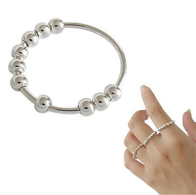 AU2.25 • Buy Women Sterling Silver Rotatable Beaded Finger Ring For Anti-stress Anxiety Ring
