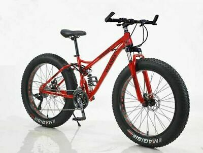 AU589 • Buy 26  Large Fat Tire Bicycle Downhill Beach Mountain Bike Full Suspension 21 Speed