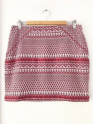 AU35 • Buy TIGERLILY Size 12 Red/White Zip Back Mid Waisted Cotton Blend Casual Skirt
