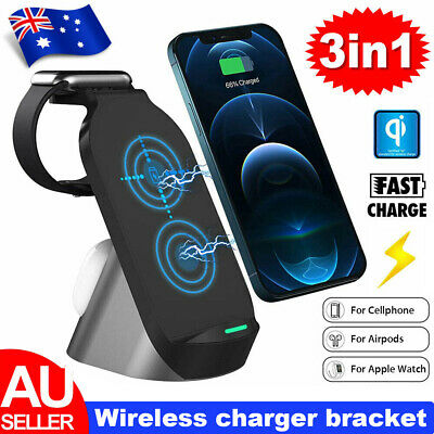 AU35.90 • Buy 15W 3 In1 Wireless Charger Stand QI Fast Charging Dock For Airpods IPhone IWatch