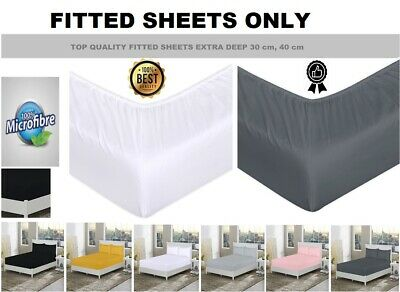 £5.85 • Buy Extra Deep Fitted Sheets Single, Double, King Bed Sheet Covers 30cm, 40cm Sizes