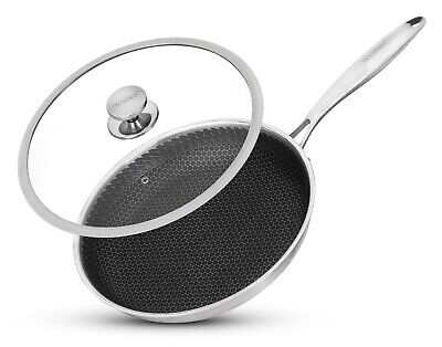 £39.99 • Buy Non Stick Tri Ply Frying Pan Stainless Steel Large Oven Safe Lid Induction Hob