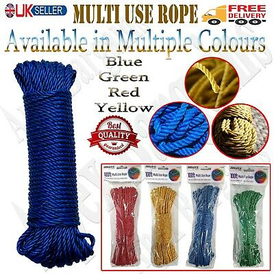 £4.45 • Buy Laundry Clothes Washing Line 100ft Heavy Duty Plastic Coated Rope Dry Outdoor UK