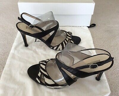 £65 • Buy L.k.bennett Zebra Print Cut-out Pony Hair & Black Leather Strappy Sandals Shoes