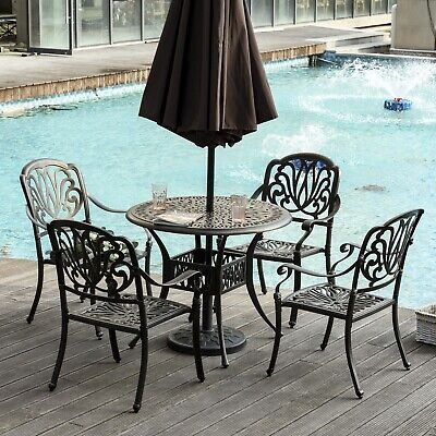 £617.95 • Buy Garden 4 Seater Round Dining Table And Chair Set Cast Aluminium Bronze Furniture