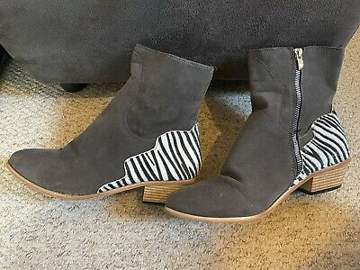 £1.50 • Buy Womens Size 7 Uk 40 Euro Brown Suede White Zebra Print Small Heel Shoes Boots