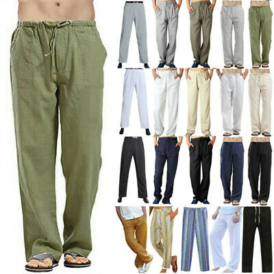 $23.36 • Buy Mens Bottom Long Pants Loose Fit Wide Leg Straight Yoga Lounge Trousers Holiday