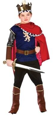 £4 • Buy DELUXE MEDIEVAL KING GOLD CROWN CAPE COSTUME 5-7 Years
