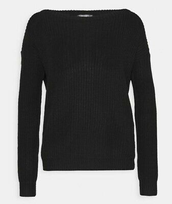 £8.99 • Buy Missguided Ladies Off The Shoulder Black Knitted Jumper Size 6-8