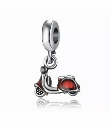 £11.99 • Buy 💕Genuine 925 Solid Sterling Silver Red Scooter Charm Motorcycle & Velvet Pouch