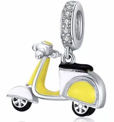£11.99 • Buy Genuine 925 Solid Sterling Silver Yellow Scooter Charm & Velvet Pouch Motorbike
