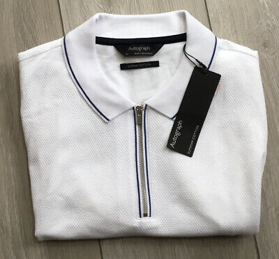 £9.99 • Buy Marks & Spencer Mens Autograph White Textured Knit Polo Shirt Zipped Size Medium