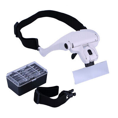 £5.98 • Buy Magnifying Glass Headset 2 LED Light Head Headband Magnifier 5 Lens With Box UK