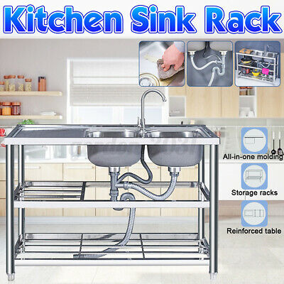 £203.58 • Buy Stainless Steel Sink Double Bowl Kitchen Catering Table Waste Kit Drainer W/ Tap
