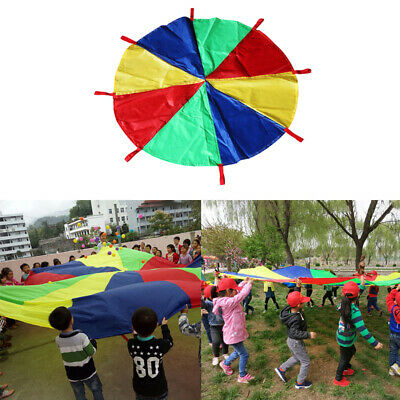 £14.55 • Buy 6 ~ 16ft Multi-colored Kids Play Parachute With Handles Cooperative Games Toy
