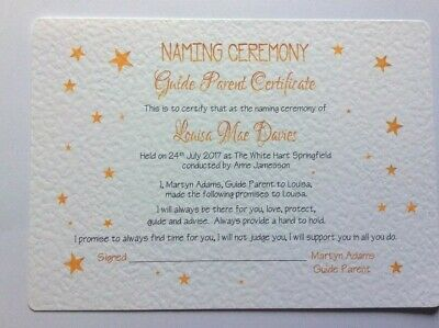 £5.25 • Buy Naming Day - Guide Parent Certificate - Personalised - Free P+P