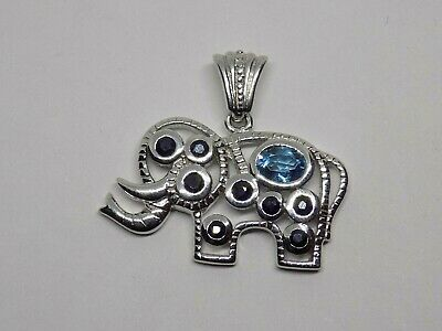£19.99 • Buy Solid 925 Silver Elephant Pendant. Set With Blue Stones. (ncb)