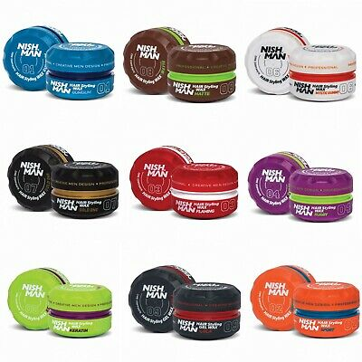 £6.99 • Buy NISH MAN Hair Wax Styling For Men Women Gel Strong Hold Paste 150ml MIX PACK AVL