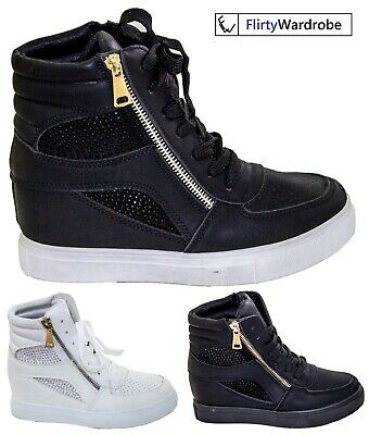 £18.75 • Buy Diamante Sneakers Hidden Wedge High Top Trainers Womens Pumps Ankle Boots Shoes
