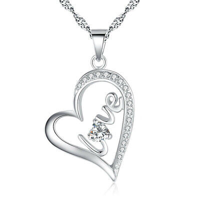 £3.99 • Buy Heart Crystal Pendant 925 Sterling Silver Chain Necklace Women Ladies Jewellery
