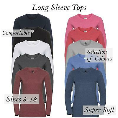 £4.99 • Buy Womens Ladies Plain Long Sleeve T-Shirt Top Fitted Stretch Basic Casual Cotton