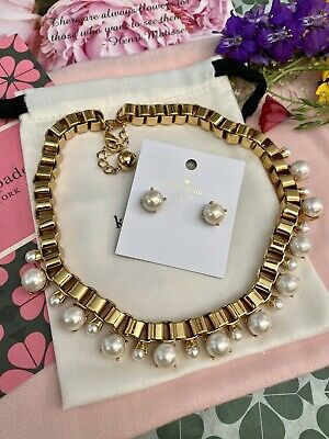 $ CDN137.21 • Buy Kate Spade Box Chain Pearl Necklace & Earrings Goldfilled Sculptural Classic