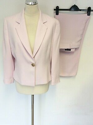 £35 • Buy Sand Pale Pink Tailored Wide Leg Trouser Suit Size 42 Uk 14