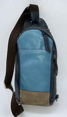 $119 • Buy Coach Bleecker Mixed Leather Colorblock Sling Backpack Ocean
