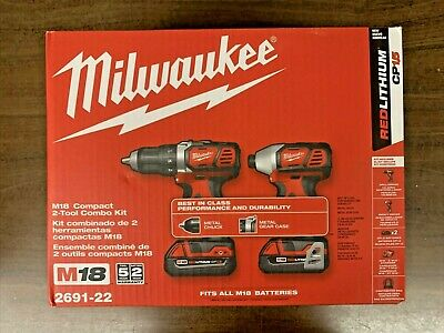 £148.35 • Buy Milwaukee 2691-22 18V Cordless Drill And Impact Driver Combo Kit (New In Box)