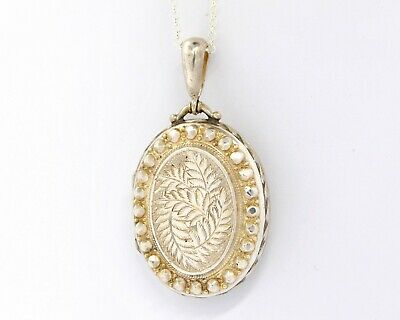 £110 • Buy Large Victorian Locket Necklace With Studs & Engraved Fern Leaves
