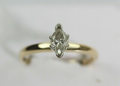AU400.57 • Buy GORGEOUS 14k YELLOW GOLD 1/2 CARAT SOLITAIRE MARQUISE DIAMOND RING Size 7.25