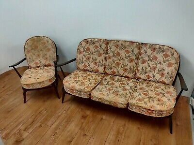 £250 • Buy Mid Century Ercol  Windsor Three Seater Sofa  & Armchair - With Cushions