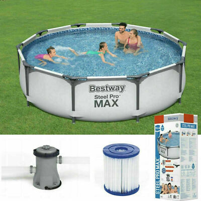 £239.99 • Buy Bestway 10ft Steel Pro Max Above Ground Swimming Pool ✅ Filter Pump✅Fast Postage