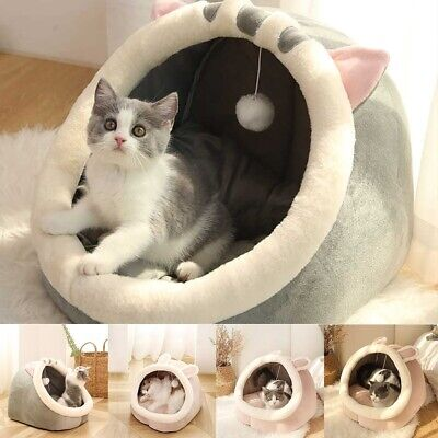 £16.99 • Buy Cat Small Dog House Bed Kitten Pet Igloo Soft Fleece Cave Puppy Cozy Dome Cute