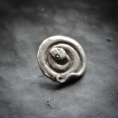 £5 • Buy Pewter Snake Button In Pewter Green Girl Studios. Coiled Serpent.