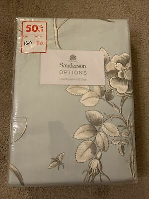 £65 • Buy Sanderson Natural Cotton Curtains 167cm X 183cm New Duckegg Etchings & Roses