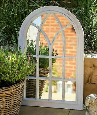 £34.99 • Buy 76x51cm Rustic Look Window Style Arch Mirror Garden Home Wall Mounted