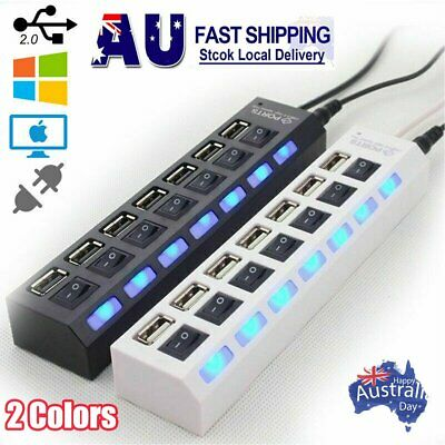 AU10.96 • Buy 7 Port USB 2.0 HUB Powered +High Speed Splitter Extender PC AC Adapter Cable AU