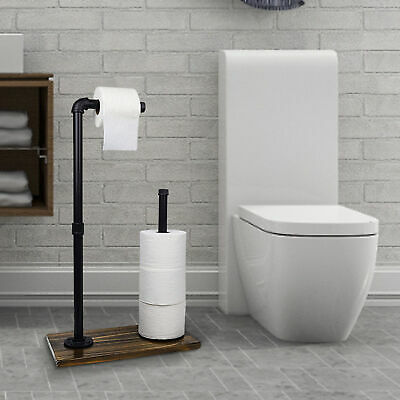 AU36.80 • Buy Toilet Paper Roll Holder Stand Tissue Storage Wooden Base Industrial Iron Rack