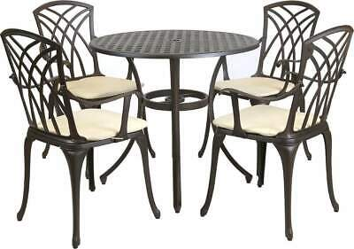 £686 • Buy Garden 4 Seater Round Dining Table And Chair Set Cast Aluminium Bronze Furniture