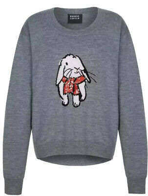 $ CDN328.91 • Buy Bnwt Markus Lupfer Intarsia Bunny With Sequined Scarf Jumper, M
