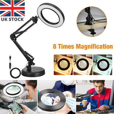 £17.59 • Buy LED Desk Lamp 8X Magnifier Glass Light Stand Clamp Foldable Beauty Magnifying UK