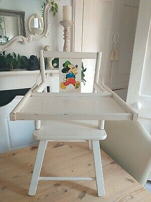 £20 • Buy Vintage Mickey Mouse Solid Wood Childs High Chair With Folding Tray