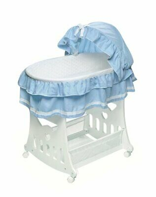 $140.94 • Buy Portable Rocking Baby Bassinet With Toybox Base Short Skirt And Pad